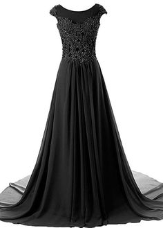 Cap Sleeves Long Chiffon Appliqued Evening Gown Prom Dresses
