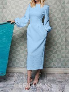 Puffl slseeve o neck mide dress women long sleeve solid color pocket autumn dress 2019 Elegant office ladies workwear robe femme, Sky blue / XL Modest Dresses, Elegant Dresses, Maxi Dresses, Sleeve Dresses, Cheap Dresses, Evening Dresses, Casual Dresses, Summer Dresses, Style Japonais