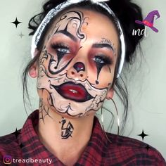 Are you looking for ideas for your Halloween make-up? Browse around this site for cute Halloween makeup looks. Halloween Makeup Clown, Clown Makeup, Costume Makeup, Eye Makeup, Halloween Nails, Diy Halloween Games, Halloween Face Mask, Halloween Projects, Halloween Party