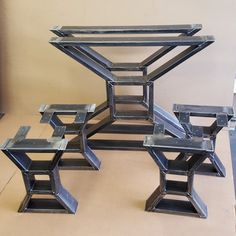 Set of 2 Modern Dining Table X Legs and 4 Bench