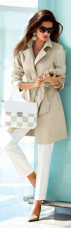 Beige coat, white pants, i love this bag