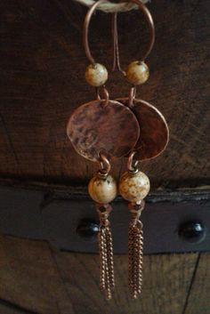 Copper & picture jasper earrings by TemptationJewelryArt on Etsy