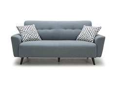 Scandinavian Designs - The Setosa is a stylish yet timeless small-scale sofa with button details on the back rest. Tailored in a light grey or orange fabric with angled venge wooden legs. Comes with two throw pillows.
