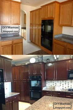 Before and after of oak cabinets lightly sanded and then used gel diy mamas kitchen makeover gel stain backsplash hardware apron solutioingenieria Gallery
