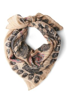 Head for the Hills Scarf: You savor the outdoors in absolute style by sporting this skull scarf wherever you go! Today  its a hike and picnic in the hills in a black tank  red skinnies  …    #1960s #60s #Retro #Vintage #Cream, #HeadForTheHillsScarf, #ModCloth