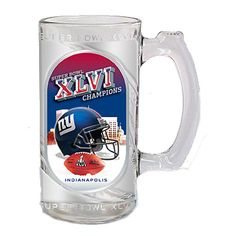 $14.99 from FansEdge - New York Giants Super Bowl XLVI Champions 13oz. Hi-Def Glass Sports Mug - This Giants glass mug features the team's logo, vibrant color scheme and the official Super Bowl Champions logo. Perfect for whipping up your favorite beverage. http://www.fansedge.com/New-York-Giants-Super-Bowl-XLVI-Champions-13oz-Hi-Def-Glass-Sports-Mug-_-122070140_PD.html?social=pinterest_020712_superbowl