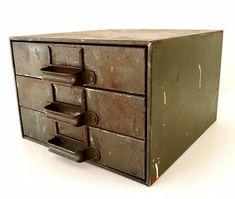 Vintage Industrial Hardware Cabinet Parts Bin with 3 Drawers Vintage Office Decor, Industrial Hardware, Industrial Storage, Vintage Industrial Furniture, Industrial Jewelry, Industrial Farmhouse, Armoire, Cabinet Parts, Drawer Unit