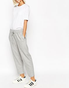 Image 4 of ASOS WHITE Trousers in Punched Wool