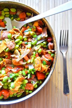 Healthy Edamame Sweet Potato Hash. Leave out the bacon!