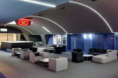 Multiplex cinema/Kiev/Ukraine/completed in 2015 over 45 days. In collaboration with Sergey Makhno Architects. Our team wanted to design a space which gives powerful emotions and assists people to feel the world in a different way Luxury Movie Theater, Cinema Movie Theater, Theater Architecture, Architecture Design, Soul Spa, Mall, Design A Space, Curved Walls, Grey Houses