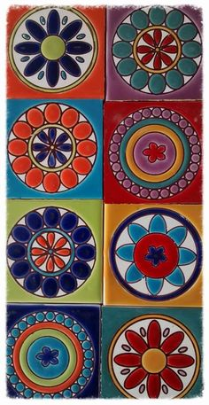 "Cuerda seca: Cuerda seca (Spanish for ""dry cord"") is a technique used when applying coloured glazes to ceramic surfaces. When different coloured glazes are applied to a ceramic surface, the glazes have a tendency to run together during the firing process. Ceramic Painting, Ceramic Art, Madhubani Painting, Clay Tiles, Mexican Art, Tile Art, Tile Patterns, Mandala Art, Clay Art"