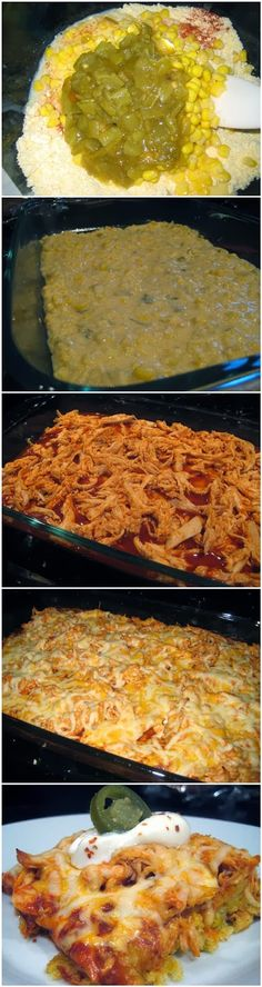Chicken Tamale Casserole Recipe Ingredients 1 cup (4 ounces) preshredded 4-cheese Mexican blend cheese ( I used reduced fat 2% blend) 1/3 cup fat-free milk 1/4 cup egg substitute 1 teaspoon … Mexican Dishes, Mexican Food Recipes, Dinner Recipes, Ethnic Recipes, Mexican Cooking, Dinner Ideas, Tamale Casserole, Casserole Dishes, Pork Casserole Recipes