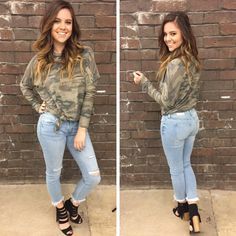 This soft, knot front camo top is so comfy! - $35 #springfashion #spring  #fashionista #shoplocal #aldm #apricotlaneboutique #apricotlanedesmoines #shopaldm #desmoines #valleywestmall #fashion #apricotlane #newarrival  #shopalb  #ootd #westdesmoines  #shopapricotlaneboutiquedesmoines #ontrend