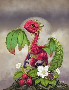Print featuring the digital art Raspberry Dragon by Stanley Morrison