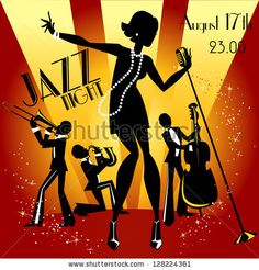 Abstract jazz band, Jazz music party invitation design, Vector illustration with sample text - stock vector