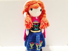 Anna Crochet Doll Frozen Inspired 12  In Stock by HelloSweetKids