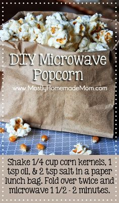 DIY Microwave Popcorn and LeapPad Ultra Pre-Order! - Microwaves - Ideas of Microwaves - DIY Microwave Popcorn MUCH better than all those chemicals in the store-bought bags! Homemade Microwave Popcorn, Microwave Recipes, Appetizer Recipes, Snack Recipes, Cooking Recipes, Appetizers, Cooking Tips, Dessert Recipes, Healthy Snacks