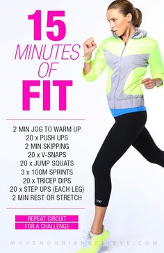 15 minute workout guide Move Nourish Believe DO IT TWICE!!!!!!!!
