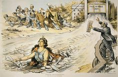 FREE SILVER CARTOON, 1890. 'Opening the Flood Gates/The Mad Act of Our Crazy Senate.' American cartoon, 1890, by F. Victor Gillam opposing t...