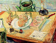 Vincent van Gogh - Still Life with Drawing Board, Pipe, Onions and Sealing-Wax
