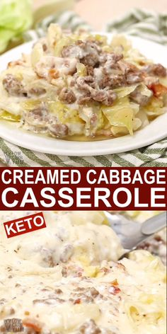A creamed cabbage and ground beef with bacon low carb casserole recipe. It's the perfect comfort food for keto meals. A creamed cabbage and ground beef with bacon low carb casserole recipe. It's the perfect comfort food for keto meals. Low Carb Dinner Recipes, Keto Dinner, Cabbage Low Carb Recipes, Cream Cheese Recipes Dinner, Cabbage Meals, Keto Cabbage Recipe, Shredded Cabbage Recipes, Dinner Healthy, Crock Pot Recipes