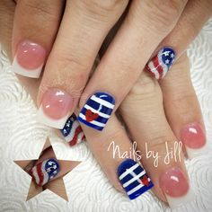 Fourth of July nail art on acrylics