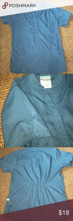 Teal green scrub top and pant set Gently used but in great condition Butter-Soft scrubs by UA Other