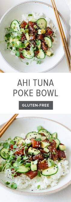 Make a poke bowl at home! This ahi poke bowl recipe is made with ahi tuna, a soy sauce marinade and sushi rice, then topped with cucumber, avocado, microgreens and sprinkled with sesame seeds. It's a healthy, gluten-free poke bowl recipe.