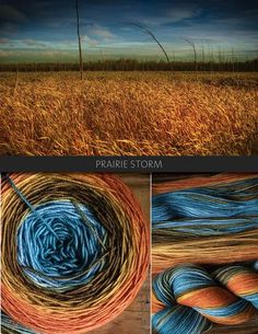Prairie Storm is a colourful, but natural palette inspired by the tones of autumn in Canada. This colour transitionsfrom a pumpkin orange through to a muted gold, into brown, sky blue and then teal.