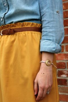 Mustard skirt + chambray = perfect for fall - add tights and boots as it gets colder