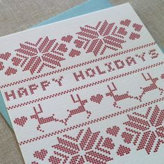 Faux-needlepoint holiday cards.  What I used in 2011.  In navy blue.