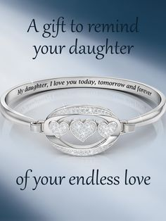 """Daughter """"I Love You"""" Diamond Bangle The silver-plated bangle features a shimmering triple-heart centerpiece studded with seven dazzling diamonds. Your daughter will love it! Mother Daughter Quotes, Mom Daughter, Daughters, Jad, Diamond Bangle, Mothers Love, Meaningful Gifts, Things To Buy, Personalized Jewelry"""
