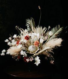 This Wedding Inspiration Highlights Colorado's Unexpected Desert Vibes Protea Wedding, Modern Wedding Flowers, Bridal Flowers, Floral Wedding, Wedding Bouquets, Lace Wedding, Lace Bouquet, Protea Bouquet, Protea Centerpiece