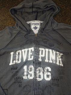 Victorias secret PINK hoodie full zip size M, Gray, EUC #VictoriasSecret #Hoodie