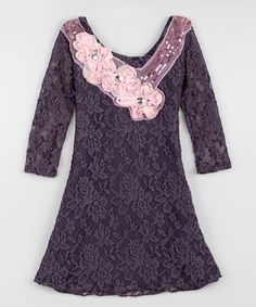 Another great find on #zulily! Charcoal & Pink Lace Dress - Toddler & Girls by Mia Belle Baby #zulilyfinds