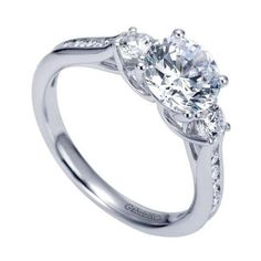 14k white gold 1.75cttw 3-stone plus diamond engagement ring with channel set side diamonds and classic trellis detail. 20 G/SI diamonds are gracefully set in t