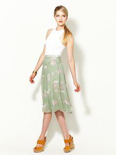 Charlotte Ronson Silk Pintuck Midi Skirt