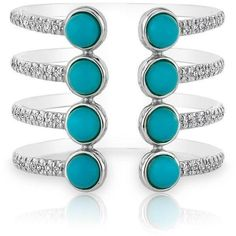 14kt white gold turquoise diamond electric ring (22,385 EGP) ❤ liked on Polyvore featuring jewelry, rings, white gold diamond rings, diamond rings, turquoise blue jewellery, white gold turquoise ring and green turquoise jewelry