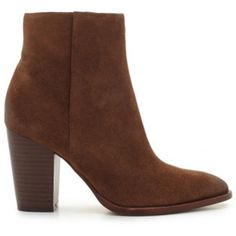 Sam Edelman Blake Suede Ankle Boot - Woodland Brown (1.580 NOK) ❤ liked on Polyvore featuring shoes, boots, ankle booties, woodland brown, cowgirl boots, cowboy boots, suede booties, brown suede booties and western boots