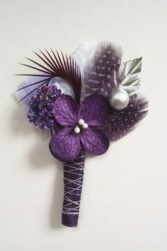 Purple and Silver Wedding Boutonniere/Corsage. $13.00, via Etsy ...