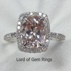 Cushion Halo Diamonds Oval Cut 7x9mm Morganite Solid 14K White Gold Wedding Ring #LOGR #WithDiamonds