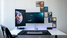 DIY Dream Desk with a bunch of Space Posters.