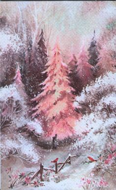 Vintage Gibson Christmas Card - Pink Christmas Tree with Red Birds - Glitter