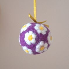 Christmas ornament bubble Felted wool tree ornament ball or egg decoration Lavender white handmade sachet felt  gift for her hostess