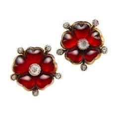 Victorian Garnet Diamond Flower Earrings | From a unique collection of vintage stud earrings at https://www.1stdibs.com/jewelry/earrings/stud-earrings/