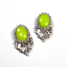 Statement earrings Neon and Swarovski crystal statement stud earrings