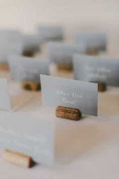 Ombre Gray and Wood Escort Cards - gray Wedding