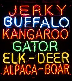 Exotic Jerky Sign | Neon sign advertising exotic jerky in one of the downtown shops in Helen, Georgia.