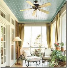 painted ceiling on an outdoor veranda/three season porch.. the colors are just so relaxing! Sun streams in as I read with my coffee..
