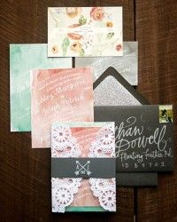 Ashley + Joe's Romantic Watercolor and Lace Wedding Invitations